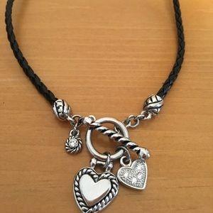 Lia Sophia Black Braided Necklace w/Hearts